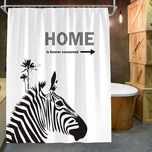 MEIZHIJIA Nordic Zebra Duschvorhang Badezimmer Plane Verdickung Mehltau Dusche Duschvorhang Sanitär Partition Vorhang Vorhang Plaque Breite 150X Höhe 180 cm -