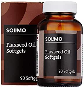 Amazon Brand - Solimo Natural Flaxseed Oil Omega-3 500mg  - 90 Softgels