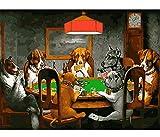 zxfcczxf Rahmenlose Bilder DIY Malen Nach Zahlen Malerei Auf Leinwand Wohnkultur Wandkunst Abstrakte Ölgemälde Hund Spielkarten