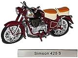 Simson AWO 425 S Rot Braun DDR Atlas Collection 1/24 Modellcarsonline Modell Motorrad mit individiuellem Wunschkennzeichen