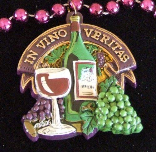 In Vino Veritas Wine Bottle Grapes Beads Necklace New Orleans Mardi Gras Cajun Carnival Festival by Mardi Gras World