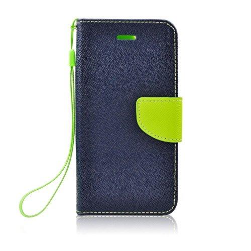 Stylisches Bookstyle Handytasche Flip Case Wallet für Samsung Galaxy S6 (Duos) Handy Schutz Hülle Etui Schale Cover Book Case blau-grün
