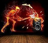 Vlies XXL Poster Fototapete Tapete Flammen Skelett Gitarre Material Vlies ohne Kleber, Größe 100 x 80 cm