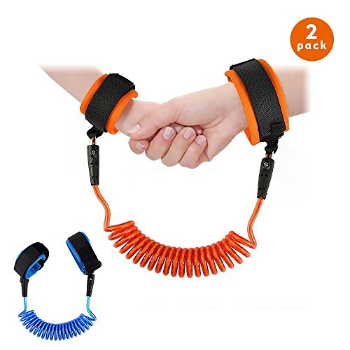 Witch's Magic House 2 Pack Kind Anti Lost Strap Skin Care Handgelenk Link Gürtel Stabile Flexible Sicherheit Geschirr für Reisen Outdoor Shopping, Einkaufen Länge 1,5 m für Blau und Orange (Draht-sicherheits-cart)