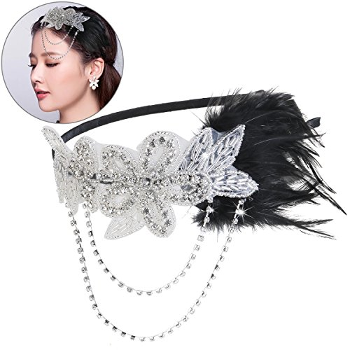 OULII Retro Feather Headpiece Flapper Chain Flower Hairband Great Gatsby Headband 1920s for Fancy Dress Party Dress-up Accessories gift for women