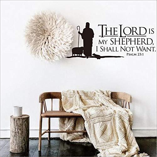 LovelyHomeWJ Psalmen 23 Der Herr ist Mein Hirte Wand Schriftzug Vinyl Aufkleber Bibel Vers Wandkunst Vinyl Aufkleber Christian 56x136cm (Jahr Herren-ein Bibel Der)