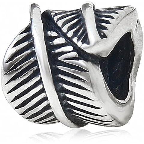 Feather Bead argento 925 per i braccialetti europea Charm