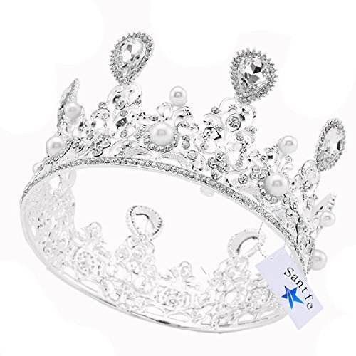 Santfe lujo Pearl Tiara Corona grande cristal boda bridesmaid Pageant corona accesorio para la cabeza (plata)