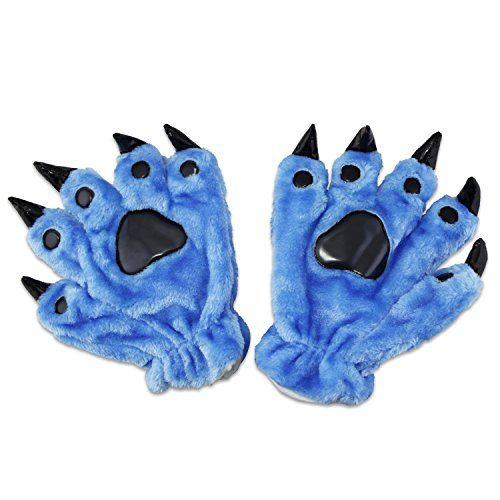 KEESIN Cosplay Animal Patte Griffe Main Gants, Mignon, Adorable, Unisexe, Chaud En Peluche Costume Fantaisie Partie Kigurumi Pet Panda Ours Chat Gants de Bande Dessinée pour Femmes Hommes (Bleu)