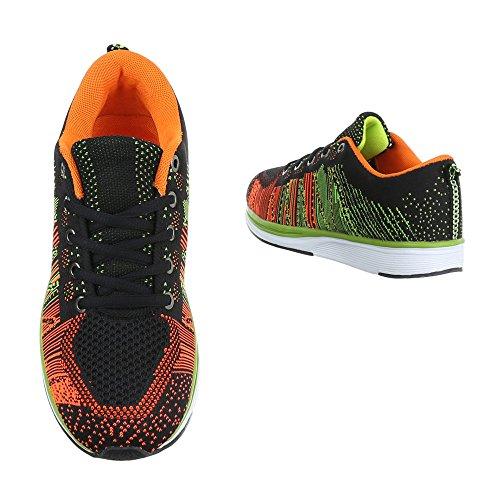 Ital-design Scarpe Sportive Scarpe Da Donna Chiuse Sneakers Lacci Scarpe Casual Nero Multi By15280