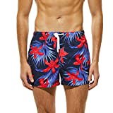 iYmitz Beachshorts Herren Breathable Trunks Hosen Farbe Männer Blumendruck Bademode Badebekleidung Strand Shorts Slim Wear Badeshorts(A-rot,EU-52/CN-XL)