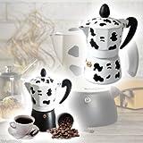 TrAdE shop Traesio Espressokocher 3Tassen Moka Express Kuh Mukka Caffe Espresso 3Tassen Kaffee