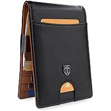 """TRAVANDO ® Portafoglio uomo con protezione RFID """"RIO"""" Porta carte di credito con clip per contanti, Porta tessere slim tascabile, Porta documenti piccole, Raccoglitore tessere banconote sottile"""