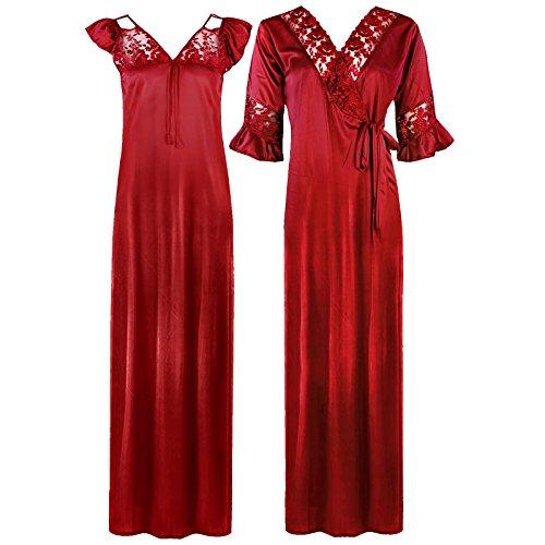 The Orange Tags, camicia da notte da donna lunga in raso e pizzo manica lunga, vestaglia, set da 2 pezzi 36-56 Red