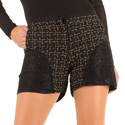 Damen Shorts, SPITZEN, KL-16054 Schwarz