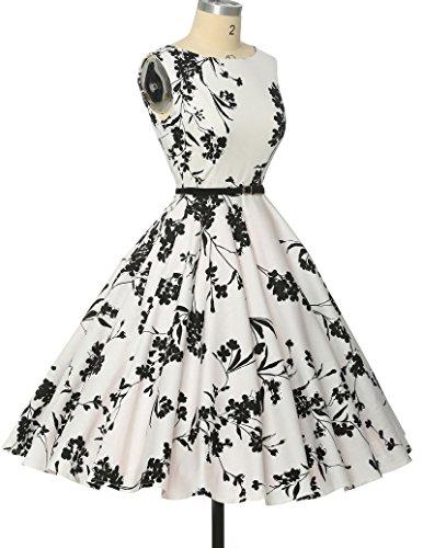 Schoene Blumenmuster festliches Kleid sommerkleid knielang rockabilly kleid L -