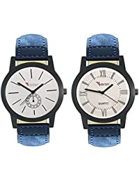 Talgo 2017 New Collection Foxter (combo Of 2) White Round Shapped Dial Leather Strap Fashion Wrist Watch For Boys... - B0763VB1T6