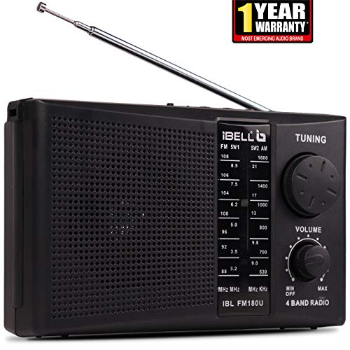 iBELL FM180U Portable FM Radio with USBSDMP3 Player & Dynamic Speaker 4 Band,Black