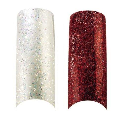 Cala X2 Lot de 100 Rouge et blanc perle Paillettes ongles professionnelle à pointes (87825,87823) + Kit d'ongles Aviva