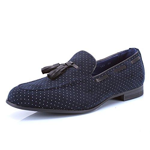 Mforshop scarpe uomo francesine parigine mocassino tessuto pois nappine elegante moda y41 - blu, 43