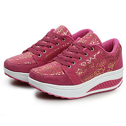 YUHUAWYH Chaussures Femme Chaussures de Marche Femme Chaussures Antidérapantes Rose rouge