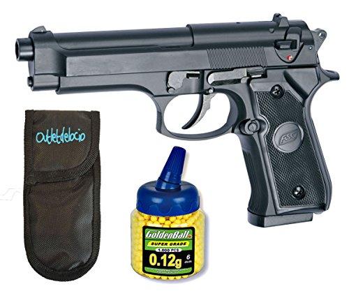 Pack Pistola airsoft M92 negra. Calibre 6mm. + Funda portabalines + Biberon 1000 bolas. 23054/21993