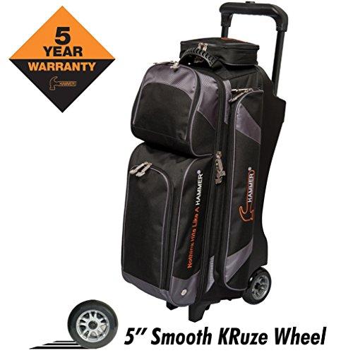 HAMMER Premium Triple Roller Bowling Bag, Schwarz/Carbon (Roller Gym Bag)