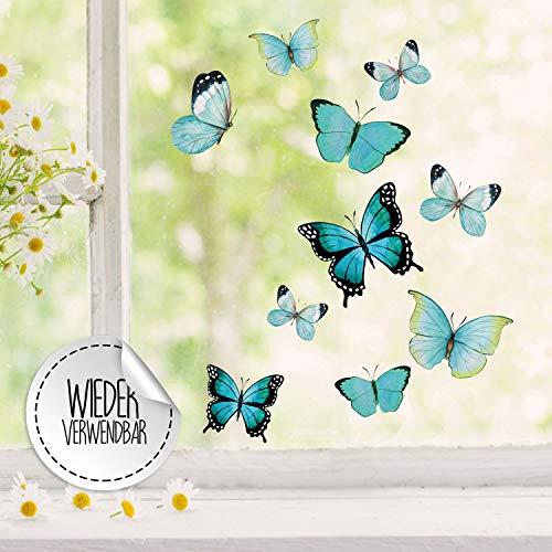 Fensterbilder Fensterbild Schmetterlinge blau wiederverwendbar Frühling Frühlingsdeko Fensterdeko bf59 - ausgewählte Farbe: *bunt* ausgewählte Größe: *5. Schmetterlinge blau*