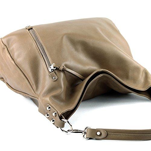 Modamoda de T121–Borsa da donna a tracolla, in pelle italiana Dunkelbeige Nappaleder