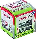 fischer DUOPOWER 10 x 25 S - Universaldübel mit Sicherheitsschraube für eine Vielzahl von Baustoffen - Allzweckdübel für leichte Spiegelschränke, schwere Spiegel uvm. - 25 Stück - Art.-Nr. 535461