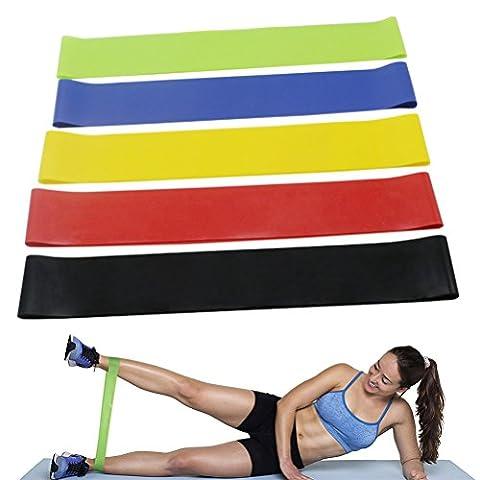 Bande Elastique Fitness, KAIHONG Bande de Resistance 5 Pcs , Équipement d'Exercices pour Musculation Pilates Squat Sport Crossfit Rééducation Physique et Motrice - Entrainement Corps, Jambes, yoga