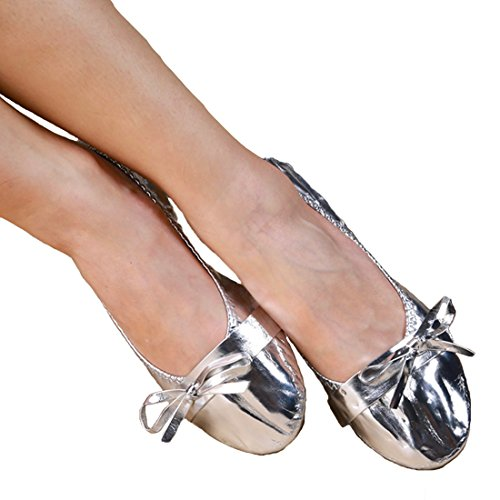 Ballett Kostüm Schuhe - Calcifer Tendon Sohle & Leder Bauch/Ballett Dance Schuhe Kostüm Geschenk für Big Party Weihnachten, Silber