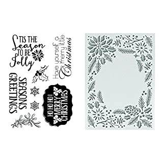 Couture Creations To Be Jolly 5x7 Embossing Folder and Stamp Set, Synthetic Material, 23.1 x 27.7 x 0.8 cm