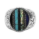 Amody 925 Sterling Silber Ring Samoa Retrostil Intarsien Multi-Edelstein-Ring für Männer Size 56 (17.8)