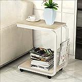 YMXLJF Mobiler Couchtisch einfacher moderner Mini-Sofa-Nachttisch (Farbe : White frame willow color)