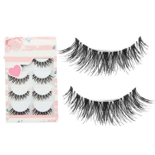 AchidistviQ 5Paar/viel Schwarzen Kreuz Falsche Wimpern lang Make-up Eye Lashes Extensions Weich...