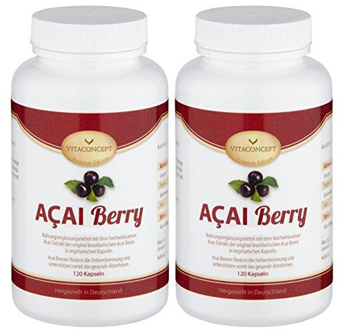 Acai-diät (SPAR-PACK - 2x ACAI Berry ACAI Berry 48000 mg plus Vitamin C * Das Original aus Brasilien * Höchstmögliche Dosierung -240 Kapseln- Fettverbrennung / Diät - made in Germany - Acai Beere - die Wunderbeere aus Brasilien - VITACONCEPT)