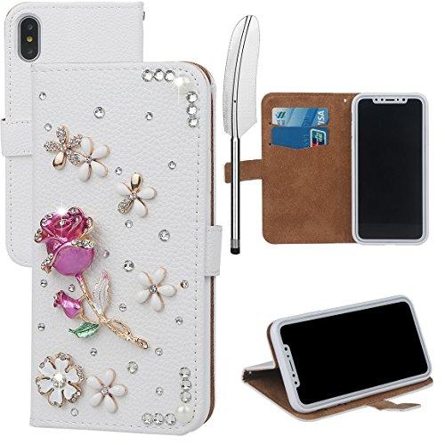 xhorizon MLK Boutique à la main Bling Glitter Housse de portefeuille Elégante et Rose Boîtier de protection en plein corps pour iPhone X / iPhone 10 (2017) avec un stylet DIY60 Rose-Rose rouge
