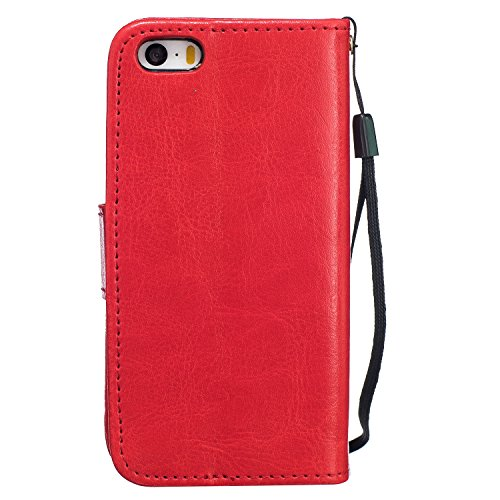 """MOONCASE iPhone 6S Plus Bookstyle Étui Pissenlit Housse en Cuir Case à rabat Coque de protection Portefeuille TPU Case avec Béquille pour iPhone 6 Plus / 6S Plus 5.5"""" Violet Rouge"""
