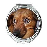 Yanteng Spiegel, Compact Spiegel, Hund Cute Animal Pet Puppy suchen Doggy Sad, Taschenspiegel, Tragbare Spiegel