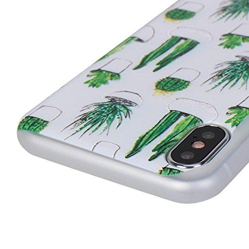 iPhone X Hülle, Asnlove 3er Set Flexible Gel TPU Silikon Matt Schutzhülle Bumper Skin Handyhülle Transparent Schutzfolie für Apple iPhone 10 / iPhone X 5.8 Zoll 2017 - Liebe / Campanula / Schmetterlin Wolf, Kaktus