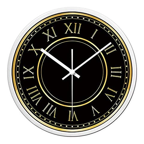 Horloge murale noir quartz chiffre romain, 12