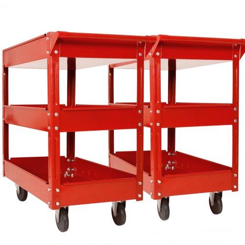 2er Set Werkzeugwagen Rollwagen aus Metall mit 3 Etagen Transportwagen