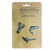 EuroStick Scottish Wildlife Lapel Pin (Set of 3 - stag, Fish, Pheasant)