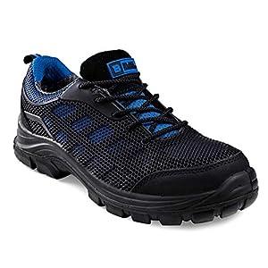 Calzado de Seguridad Impermeable para Hombres Puntera de Composite Sin Metal Ultraligera Botas de Trabajo para Caminar con Entresuela de Kevlar y al Tobillo S3 SRC 8007 Black Hammer