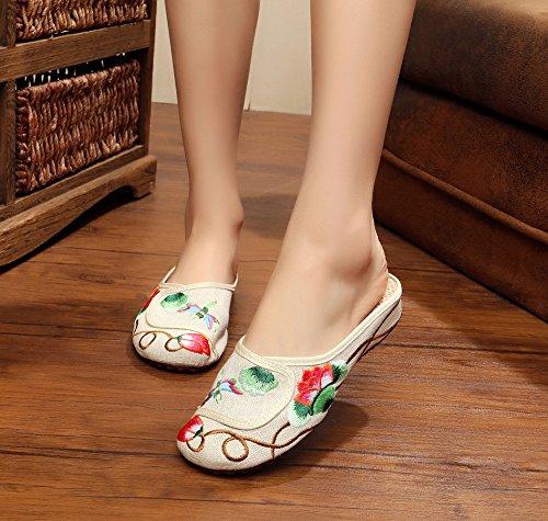 GXS Feine gestickte Schuhe, Sehnensohle, ethnischer Stil, weiblicher Flip Flop, Mode, bequem, Sandalen meters white