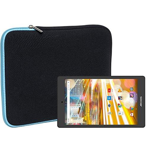 Slabo Tablet Tasche Schutzhülle für Archos 80 Oxygen Hülle Etui Case Phablet aus Neopren – TÜRKIS/SCHWARZ