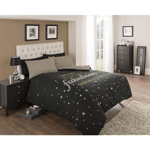 Set da 3 pezzi con copripiumino e 1 federa cuscino per letto singolo, motivo: Fabulous colore: nero/oro, bianco con stelle, nuovo design moderno, reversibile