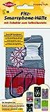 Kleiber 13 x 7 cm Filz-Smartphone-Hülle zum Selberbasteln für Kinder, grau mit weißen Blumen