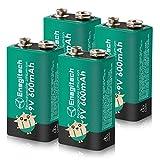 Enegitech 9V Block Akku Li-ion 600mAh Hochleistungs Wiederaufladbare Rauchmelderbatterien für Mikrofon Brandmelder Multimeter Medizinprodukte, 4 Stück